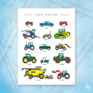 Farm vehicles art print