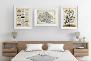 Edinburgh Word Map - Edinburgh Travel Art - Sepia