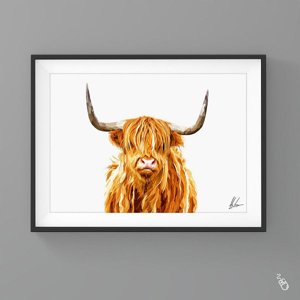Highland cow painting colourful