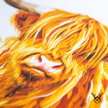 Load image into Gallery viewer, Highland cow colourful art print
