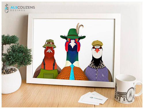Game birds Art Print - The Trio