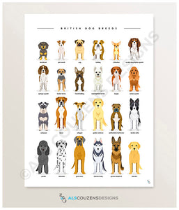 Dog breeds UK art print