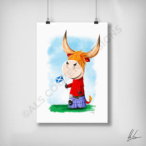 Highland cow cartoon