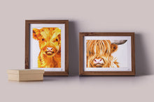 Load image into Gallery viewer, highland cow calf art print