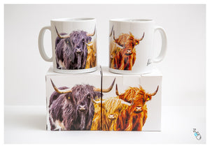 Highland Cow Mug - Colourful Trio coffee cup