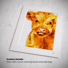 Load image into Gallery viewer, baby highland cow art print painting