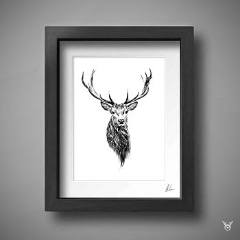 Scottish stags head painting