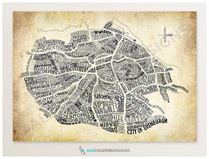Edinburgh map art print