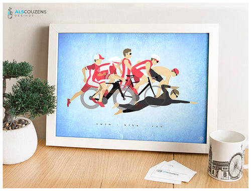 Triathlon art print - Ironman Art - Swim, Bike, Run - Blue