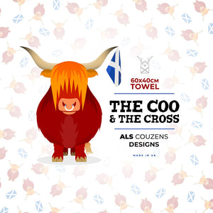 Highland Cow Tea Towel - The Coo & The Cross