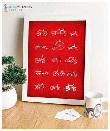 Love Cycling - Red Cycling Print