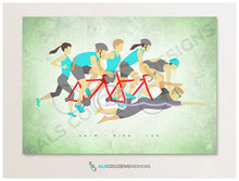 Load image into Gallery viewer, Triathlon art print - Ironman Art - Swim, Bike, Run - Green