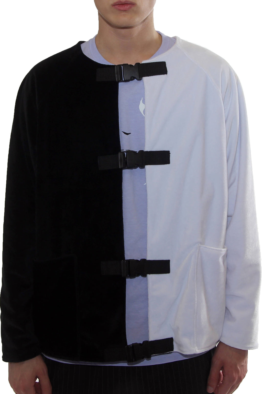 """SPLIT FLEECE JACKET"" / BLACK / WHITE"
