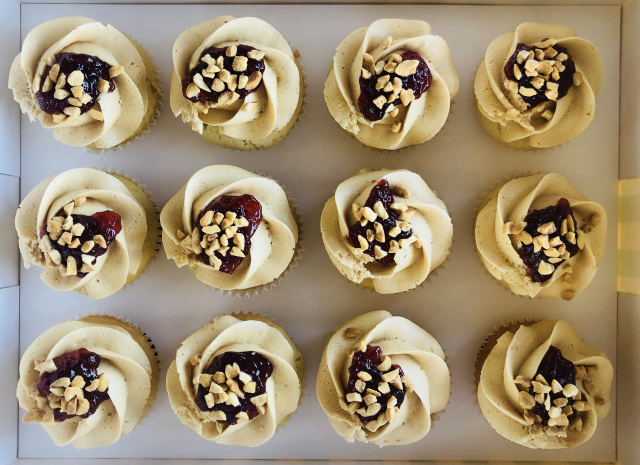 Peanut Butter and 'Jelly' cupcakes