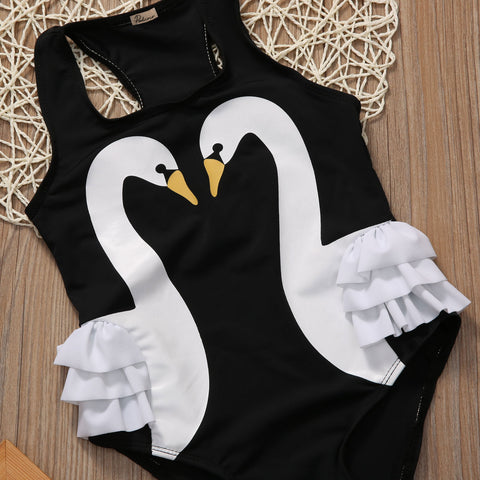 Swan One Piece Swimsuit 3-6 Years