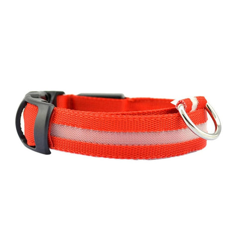 Dog Collar With LED Light - Red