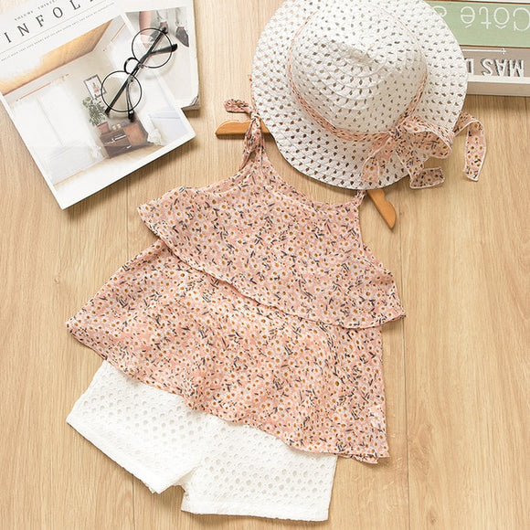 Anne Floral Girls Set + Hat - Pink