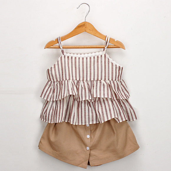 Megan Stripe  Girls Set - Brown