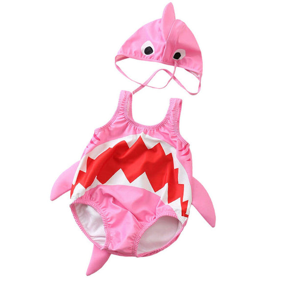 Shark Baby Swimsuit - Pink