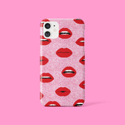 Pink Glitter Effect Lips Case