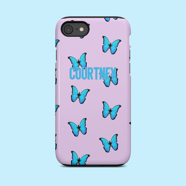 Personalised Lilac & Blue Butterfly Case