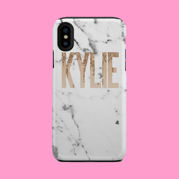 Kylie White Marble Gold Glitter Case