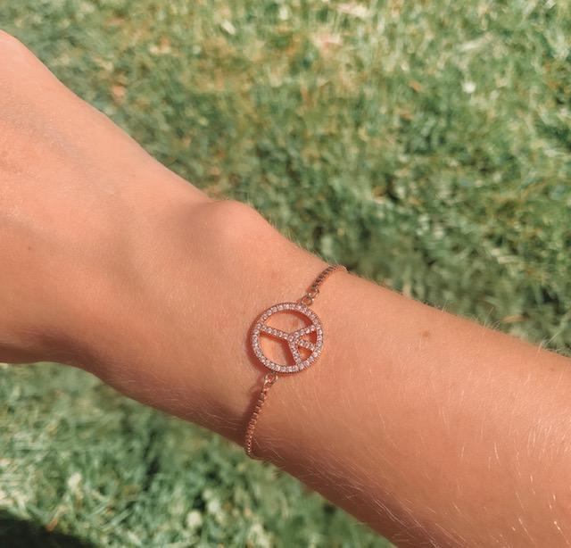 Rose Gold Peace & Love Bracelet