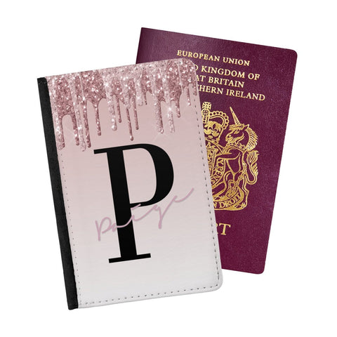 Rose And Gold Pink Drip Passport Holder