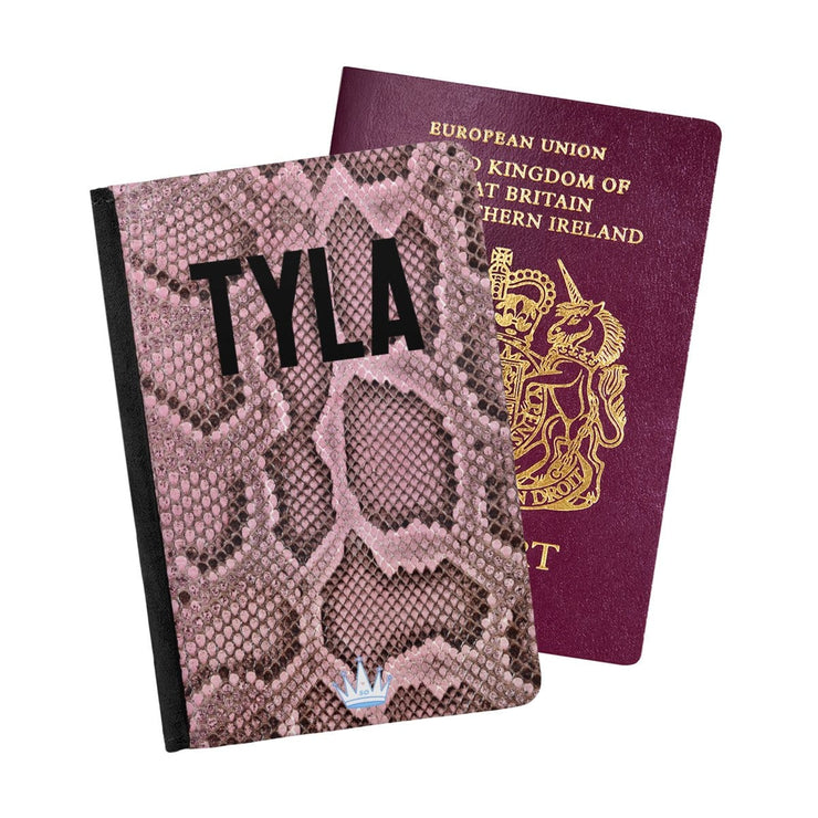 Tyla Pink Snakeskin Passport Holder