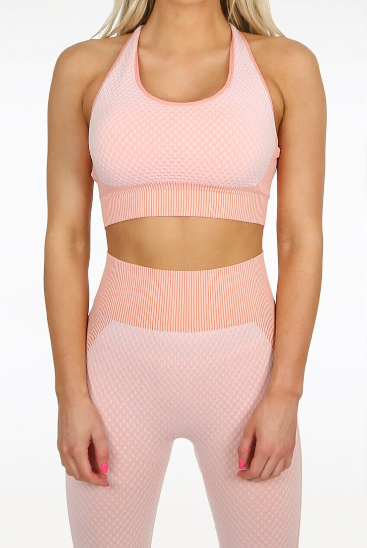 Textured Cross over crop & legging set - Peach