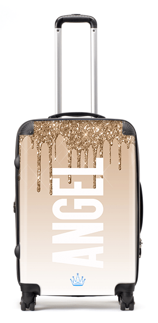 Print Glitter Gold Suitcase