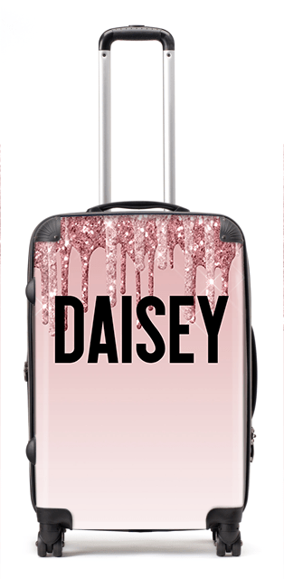 Printed Glitter Daisy Suitcase