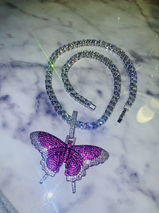 Purple Butterfly Tennis Chain