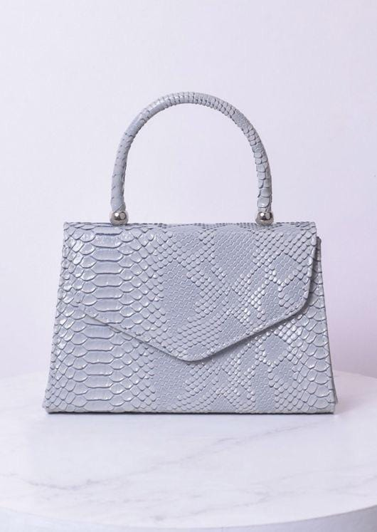 Snake embossed embossed mini envelope tote bag Sgrey