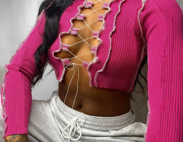 Pink Ava Lace up top