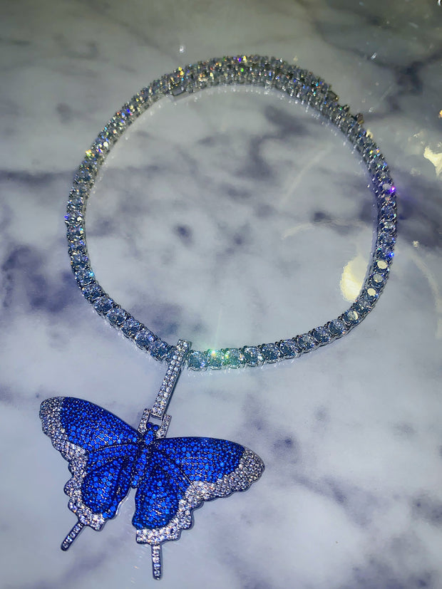 Blue Butterfly Tennis Chain
