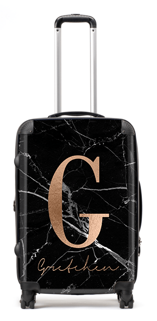 Rose & Black Marble Suitcase