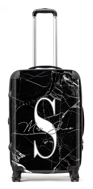 Black Marble Initial Suitcase