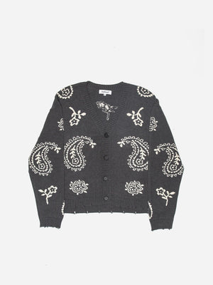 KNIT PAISLEY CARDIGAN SWEATER