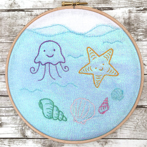 Under the Sea hoop are stitched with modern embroidery patterns