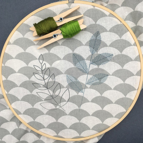 Stitching stylised leaf hoop art, transferring the pattern to the fabric