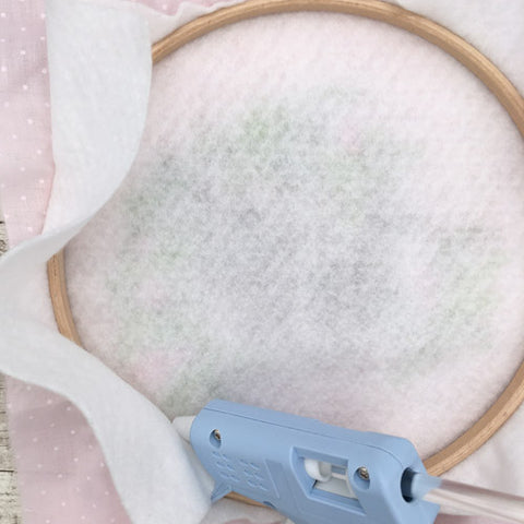 Glue the felt to the back of the embroidery hoop