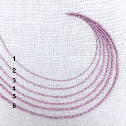 stitching with varying embroidery strand numbers