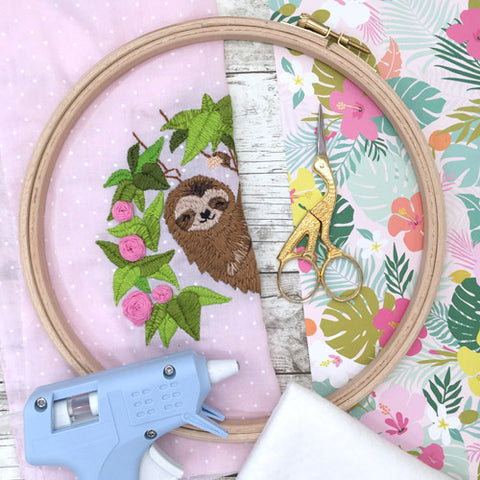 Equipment needed to back embroidery hoop