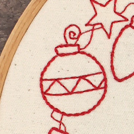 close of hand embroidered Christmas decoration