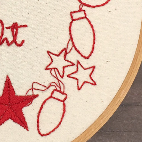 how to stitch hand embroidered Christmas lights and stars
