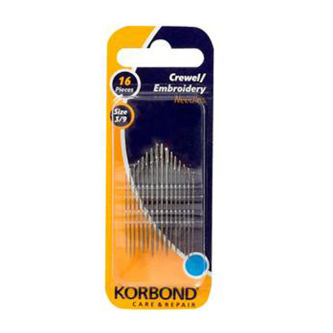 a packet of korbond embroidery needles in sizes 3-9