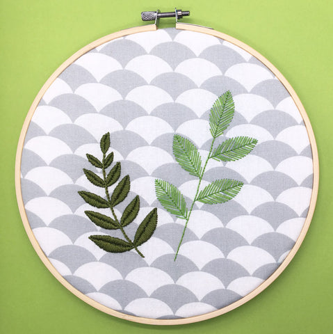 How to stitch a simple modern hoop featuring leaves