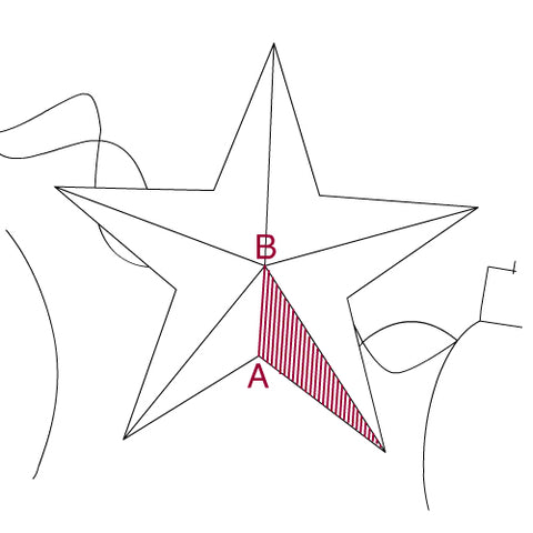 Illustration of satin stitch to fill in a star