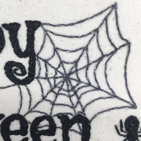 Halloween spiders web embroidery